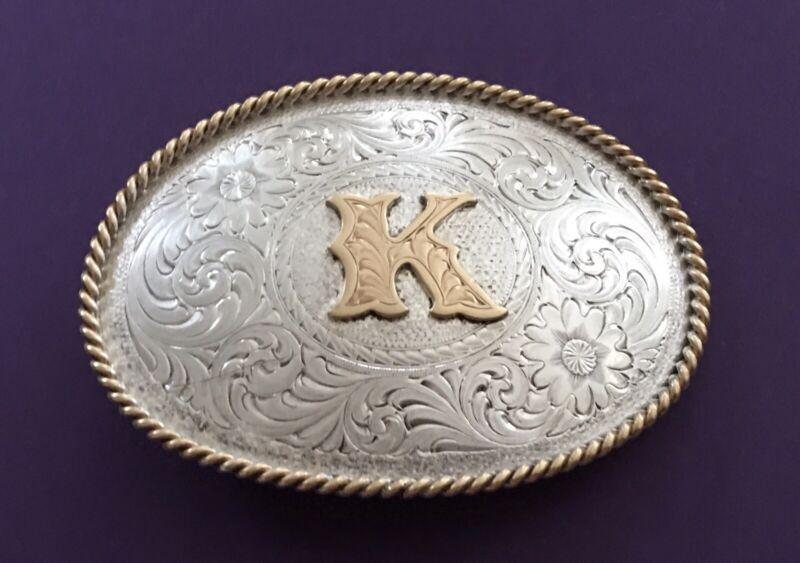 VTG Premium MONTANA SILVERSMITHS Sterling Plated LETTER K Monogram BELT BUCKLE