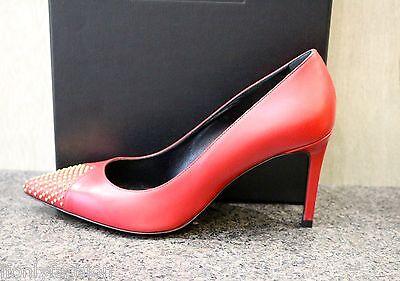 NIB YSL Saint Laurent ROUGE ORIENT Gold Stud Pointed Toe Red Pumps Shoes 365