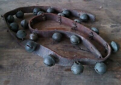 Early Primitive Sleigh Bells 21 Ornate Brass Bells Leather Strap