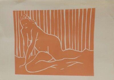 """"""" Die Liegende Maid Akt Nude 4 """"Linolschnitt color unsigniert"""