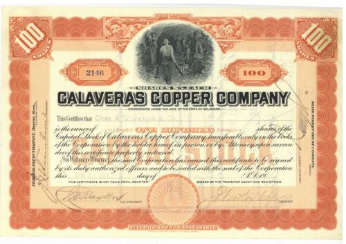 Calaveras Copper Company. Stock Certificate. California. 1911