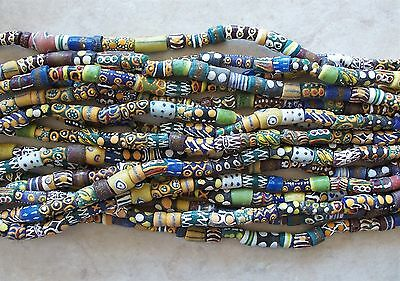 """32"""" Strand African Hand Painted Sandcast Glass Beads Mix Multi Colored 10m-20mm"""