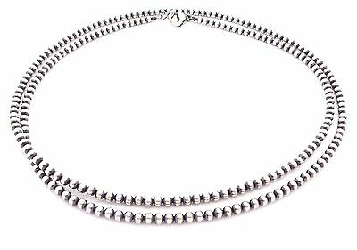 "36"" Navajo Pearls Sterling Silver 4mm Beads Necklace"
