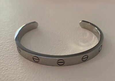 Cartier LOVE white gold cuff bracelet - Size 16