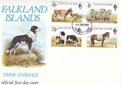 FALKLAND ISLANDS 19 JANUARY 1981 FARM ANIMALS OFFICIAL FIRST DAY COVER FDI