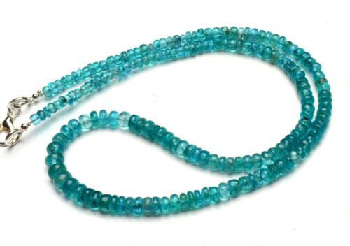 """Natural Gem Neon Blue Apatite Necklace 4 to 6mm Size Smooth Rondelle Beads 16.5"""""""