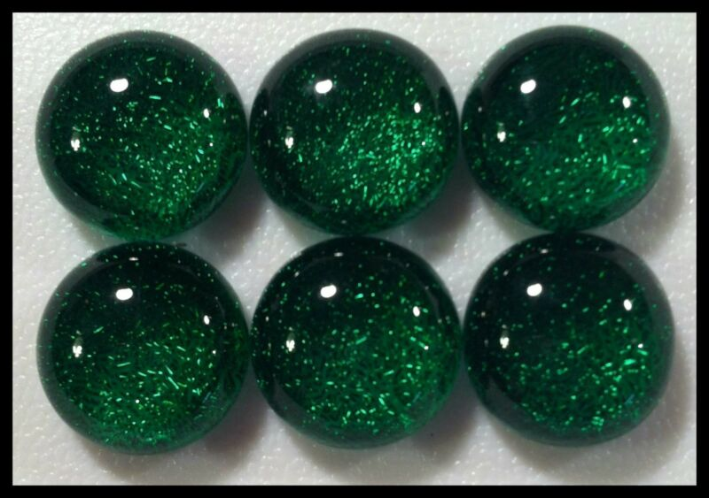 TWINKLE Round TRUE GREEN Fused Glass DICHROIC Cabochons NO HOLE Flat Back Beads