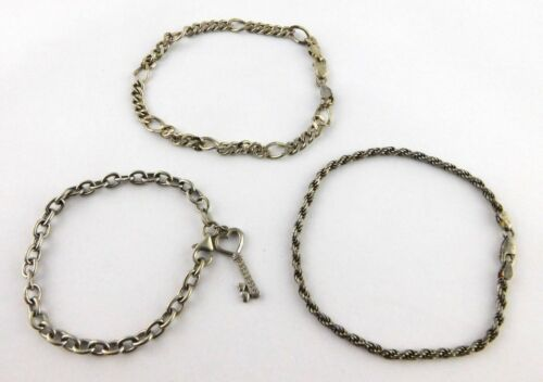 Lot of 3 Sterling Silver Chain Link Bracelets Italy and Key Accent Charm 925