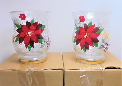 Yankee Candle Set of 2 POINSETTIA Crackle Glass Votive Holders New in Box