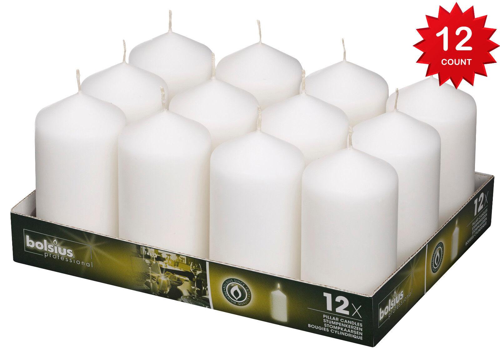 """Bolsius White Pillar Candles 2.7X5"""" Burns Aprox. 40 Hr. Part"""