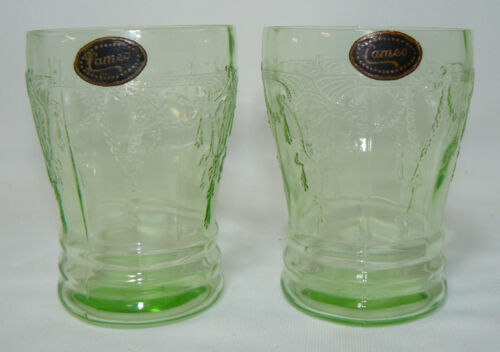 Two Green Hocking Cameo Water Tumblers with Original Cameo Paper Label!