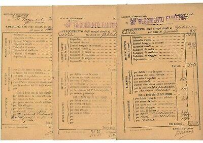 31° REGGIMENTO FANTERIA SPECCHIETTO ASSEGNI 1911 STIPENDI CAPITANO 11 BUSTE PAGA