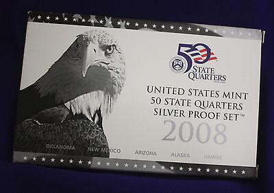 2008 U.S. Mint SILVER 50 State Quarter Proof Set. In original GRAY box.