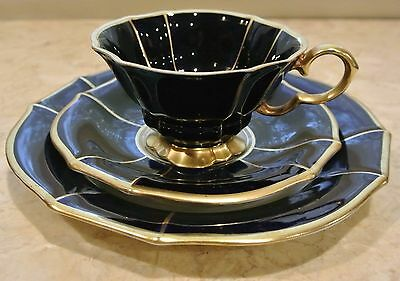 Vtg Ech Cobalt LINDNER KUEPS BAVARIA Footed Cup,Saucer & Dessert Plate