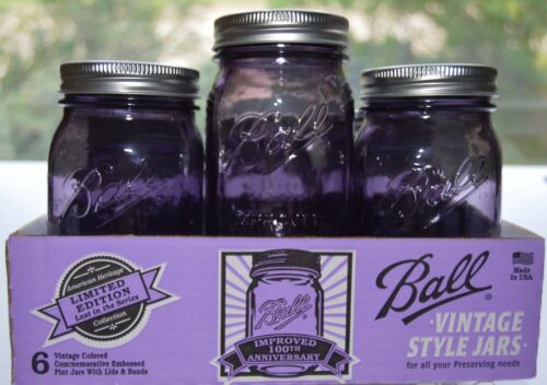 NEW BALL IMPROVED MASON PINT JARS 100TH ANNIVERSARY PURPLE 6 PACK COLLECTIBLES
