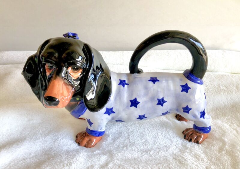 Blue Sky Clayworks WILLIE DACHSHUND DACKEL Dog Ceramic Teapot by Lynda Cornelle