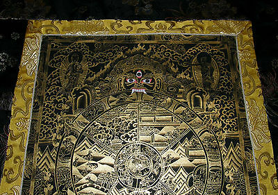 Sehr feiner THANGKA! WHEEL OF LIFE Lebensrad i Brokat NEPAL 91x52 cm