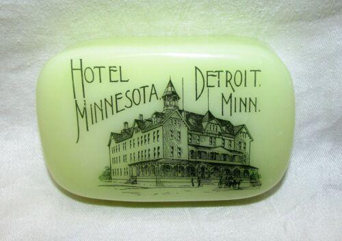 Hotel Minnesota Detroit Lakes Minnesota Custard Glass Souvenir Paperweight