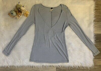 Free People Long Sleeve Faux Wrap Knit Ribbed Top Sz XS