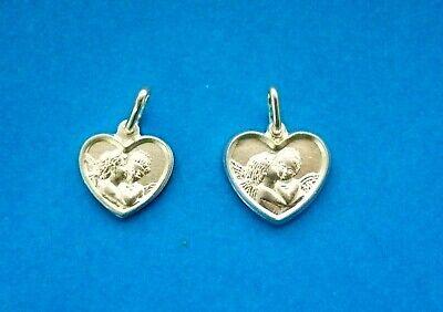 925 STERLING SILVER ANGELS CHERUB MEDALLION PENDANT heart CHARM 12mm/14mm