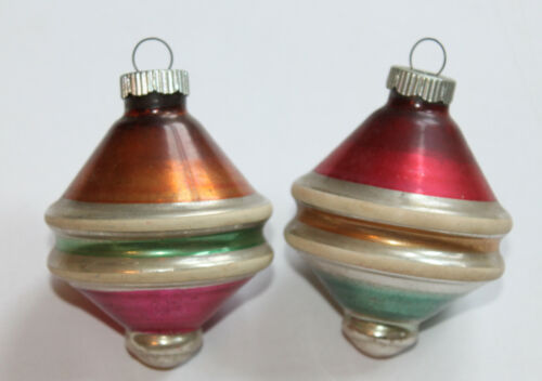LOT OF 2 VINTAGE CHRISTMAS SHINY BRITE TOP - SHAPED STRIPED GLASS ORNAMENTS