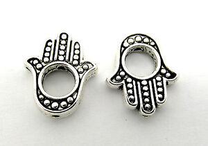 10 Hamsa Hand Charms Fits 4mm Bead 15mm Antique Silver Tone J00372