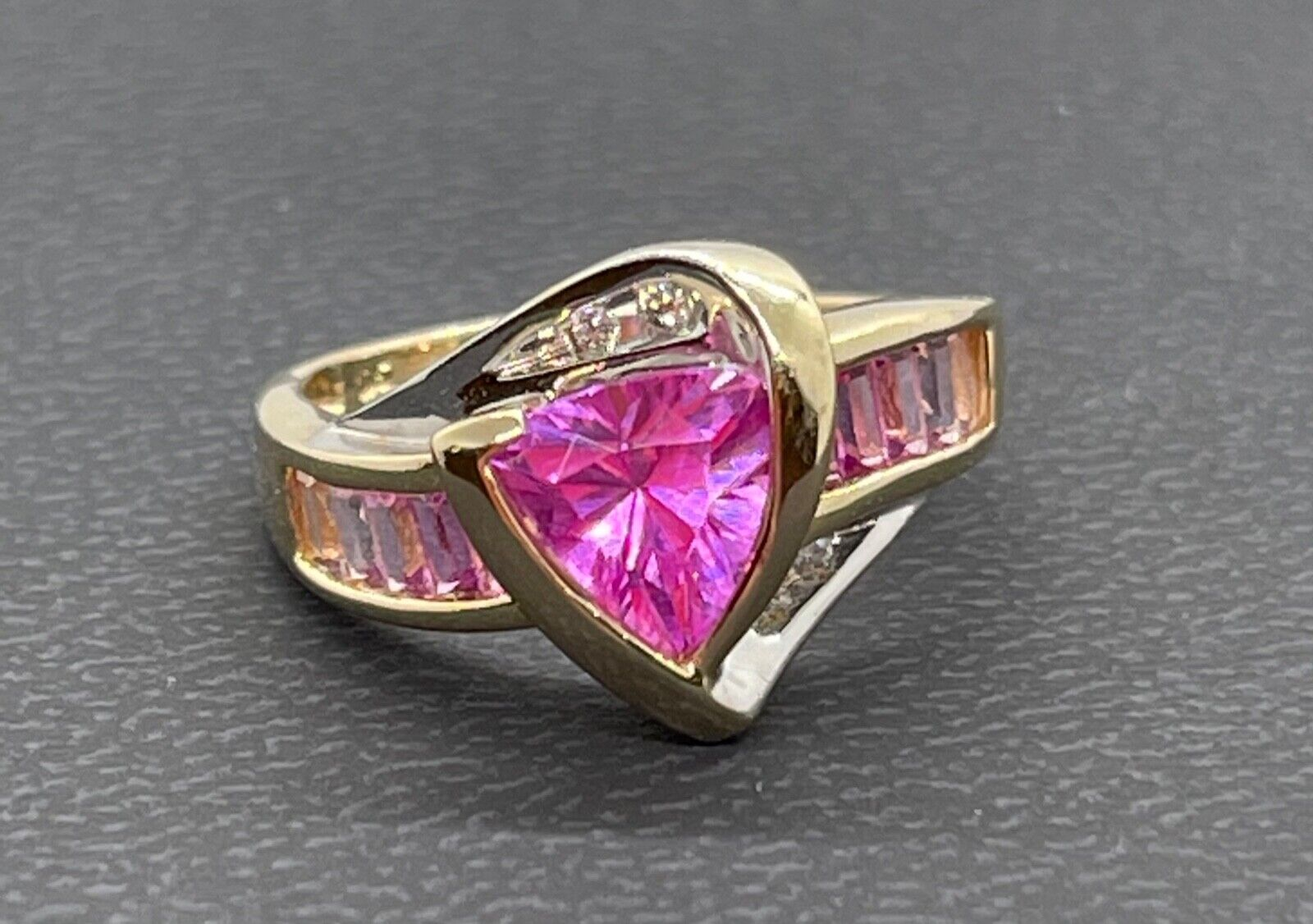 10K Yellow Gold Ring With Lab Created Pink Sapphires And Diamonds Size 6.75 - $179.00