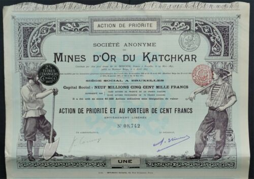 Russia - Goldmines of Katchkar (near Chelyabinsk/Челя́бинск) - 1897 -pref share