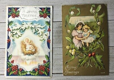 Vintage Lot Of 2 Merry Christmas Holiday Religious Postcards Post Card ()