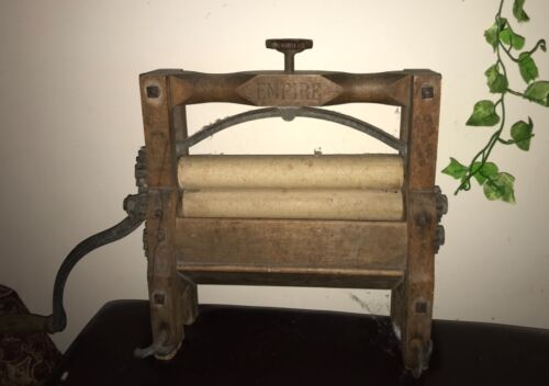 Rare Antique Wooden Empire Mangle Hand Crank 1881 Clothes Wringer Horse Shoe