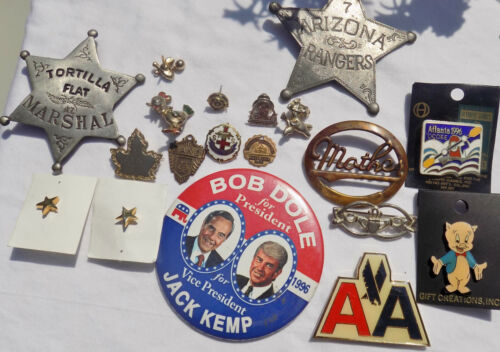 LOT OF ASSORTED PINS & TIE TACS AMERICAN AIRLINE ,OLYMPICS,PORKY PIG+ VINTAGE