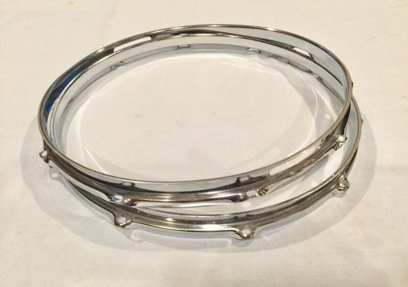 """Vintage 60s Ludwig Supraphonic 14"""" Snare Drum Hoops, Rims, 10 Hole 1.8mm, Chrome"""