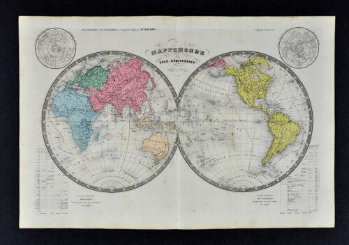 Ansart Map World in Hemispheres America Europe Asia Africa Texas Republic