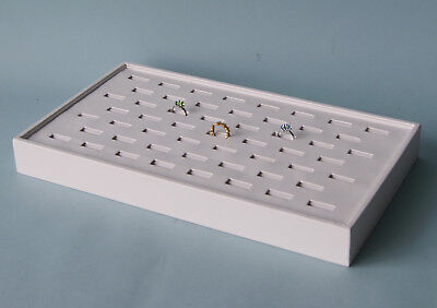 53 Ring Section 15 X 8 White Leatherette Ring Tray Display Case Ftt53w