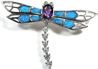 Amethyst & Blue Fire Opal Inlay 925 Sterling Silver Dragonfly Pendant Necklace