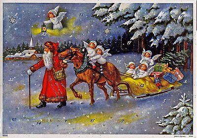 Weihnachtsmann mit Pferdeschlitten Glitzernder nostalg. Adventskalender 10399