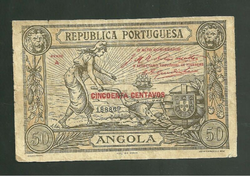 1921 Angola 50 Centavos Currency Note Pick #62 Paper Money Serie A