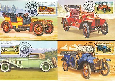 S.Tome St Thomas 1983 Cars Automobiles MAXI Cards Used x 8 (D600