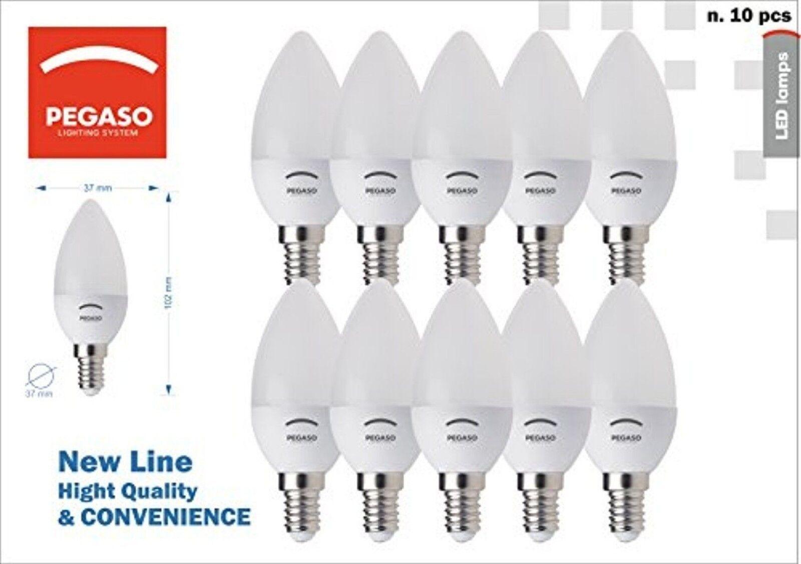 10 lampadine LED Pegaso candela A+ C37 E14 5W 7W luce calda naturale fredda