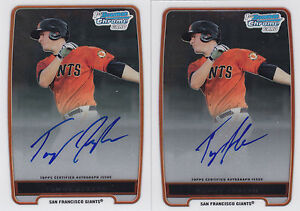 Lot Of (2) 2012 Bowman Chrome Autograph Auto Tommy Joseph RC SF Giants