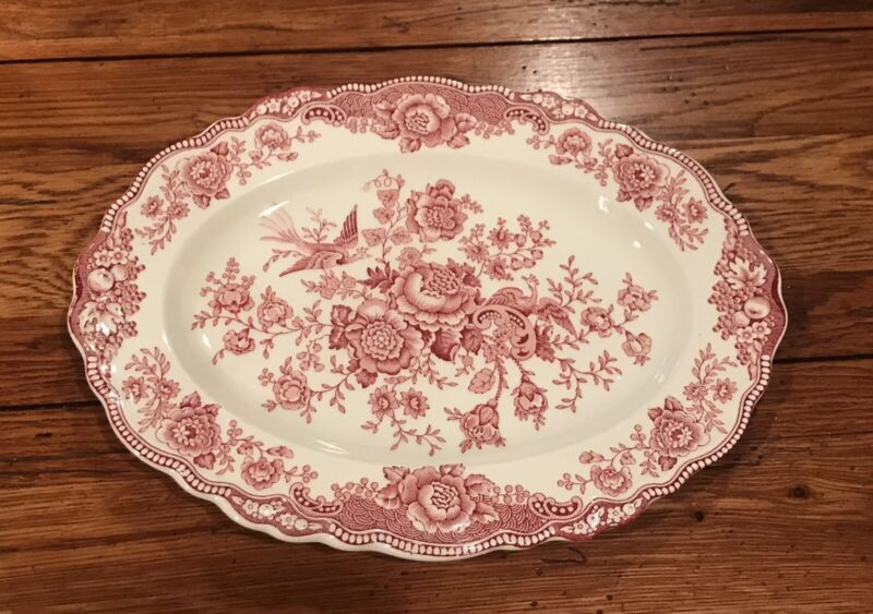 Crown Ducal Bristol Red Oval Platter EUC