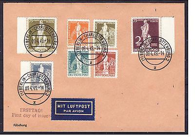 Berlin FDC 9. April 1949 MiNr. 35-41 auf Luftpost Brief Fälschung