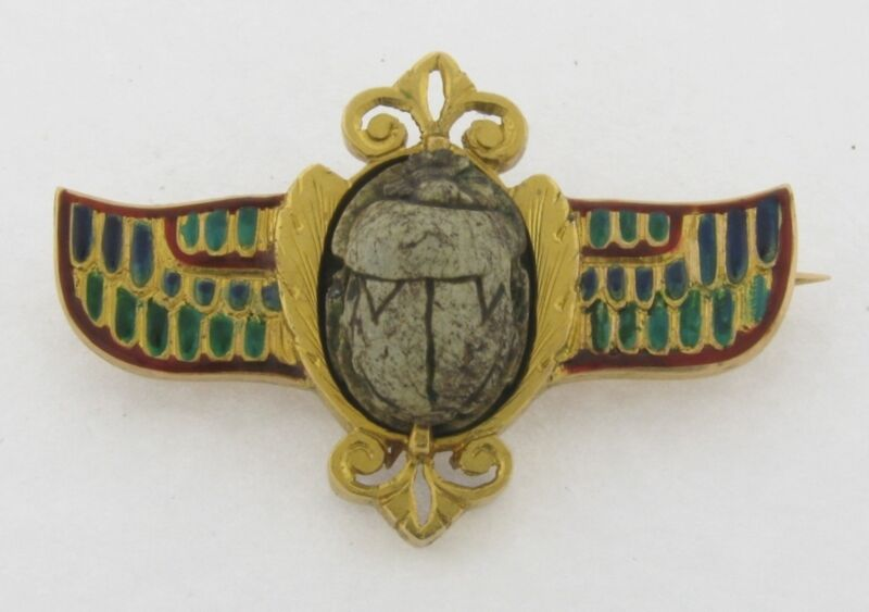 Antique Scarab 500-700 B.C. Enamel 18K Gold Signed Brooch