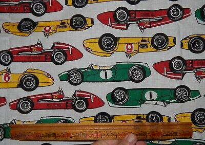 Joe Boxer racecar fabric BTY white red green yellow roadster vintage Indy car  for sale  Oroville