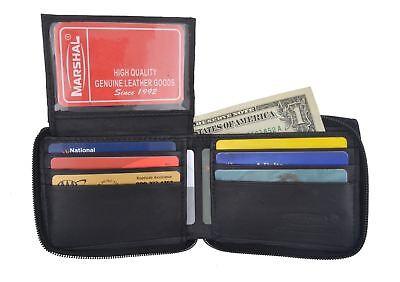 New Mens Bifold Zipper Around Leather Wallet Black Billfold With ID -
