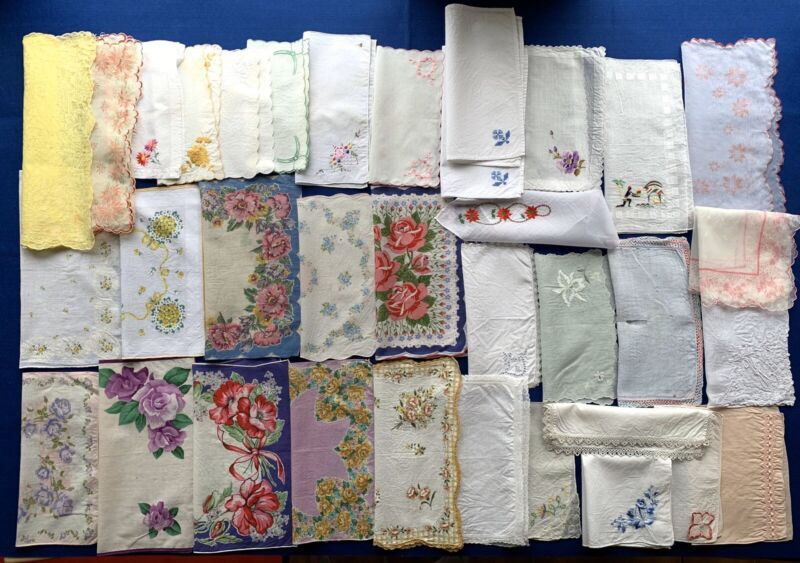 Vintage Lot of 35~ Floral Embroidered Linen Cotton Crafting Hankies Handkerchief