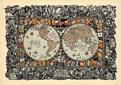 1920 World Peace Map New National Boundaries Wall Art Poster Vintage History