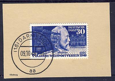 BRD 1949 MiNr 116 auf Briefstück mit Erstagsstempel Darmstadt REPLICA, Fälschung