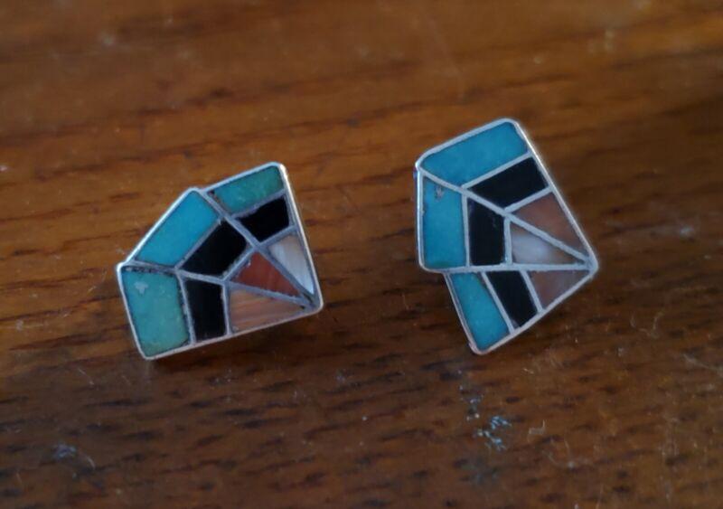 "Old Zuni Pueblo Silver EARRINGS Inlaid Mosaic Of Various Stones "" EZT "" EXC!..."