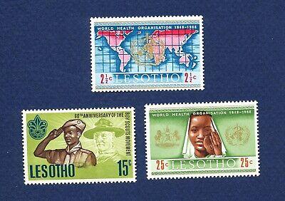 LESOTHO - # 44, 45 & 46 -  VF MNH - Boy Scouts, UN WHO, Medicine - 1967